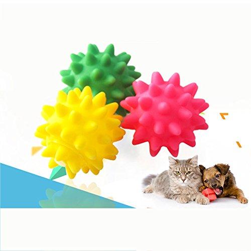 KRexpress 3Pcs Dog Puppy Cat Pet Hedgehog Ball Rubber Bell Sound Ball Fun Playing Toy Hot Worldwide Brand Random Color