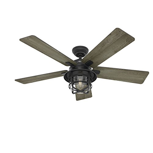 Fan 54 weathered zinc outdoor ceiling fan with a clear glass led hunter fan 54 weathered zinc outdoor ceiling fan with a clear glass led light kit and remote mozeypictures Images