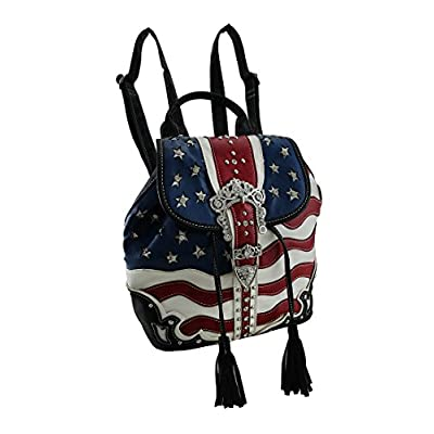 durable service Vinyl Womens Backpack Purses American Flag Rhinestone  Buckle Western Style Drawstring Backpack 85ef5ab3d