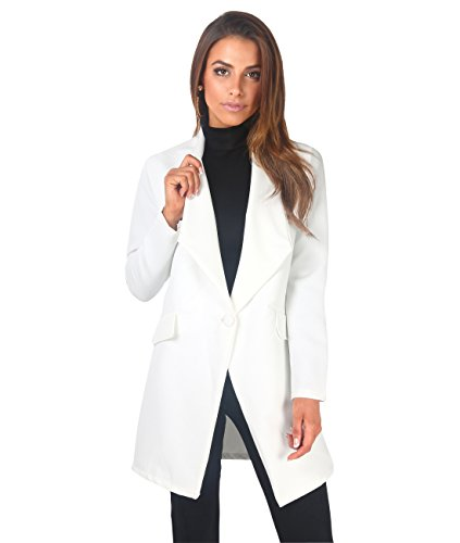 Krisp Women Tailored Oversized Button Long Blazer Coat Jacket [5403-WHT-L]