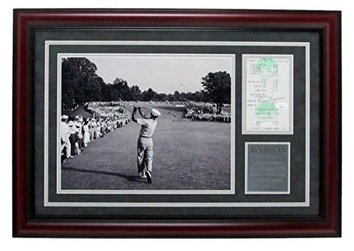 Ben Hogan Autographed Signed Pga Receipt & 11x14 B/w Photo 1 Iron 1950 Framed JSA 147970
