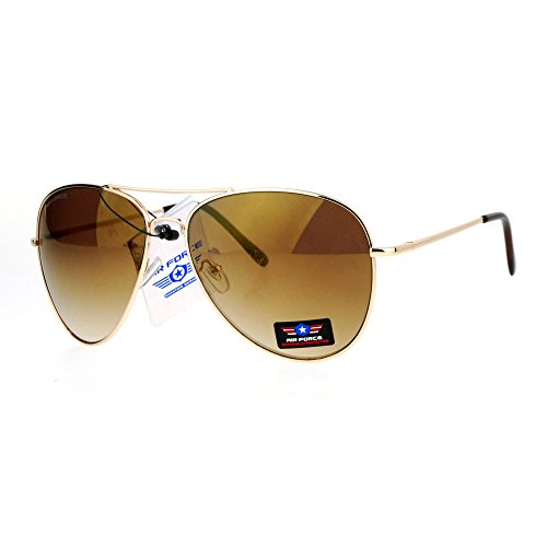 Airforce Mens Oversize Classic Officer Metal Rim Pilot Sunglasses Gold