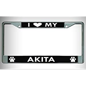 I Heart My Akita Dog Chrome License Plate Framefor Home/Man Cave Decor by PrettyMerchant 8