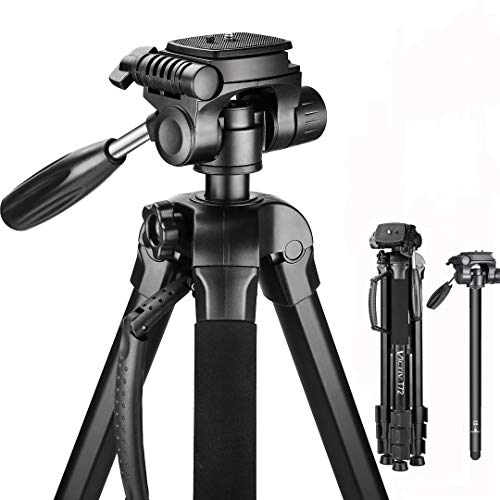 Victiv Aluminum 72 inches Camera Tripod, 2-in-1 Tripod Monopod for DSLR and Smartphone with 3-Way Swivel Pan Head and 9lbs Load for Travel and Work – Black