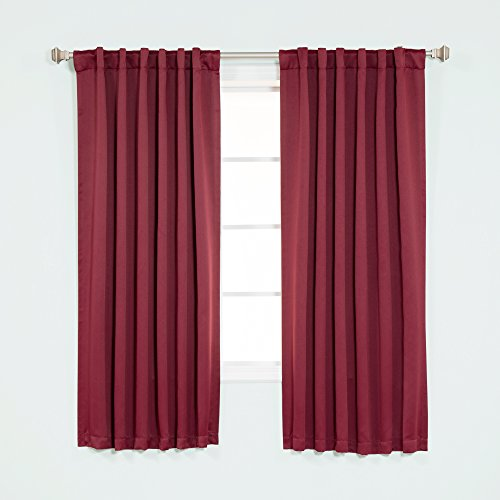 "Best Home Fashion Thermal Insulated Blackout Curtains - Back Tab/ Rod Pocket - Burgundy - 52""W x 63""L - (Set of 2 Panels)"