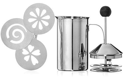 Brentmoor - Manueller Luxus-Milchaufschäumer aus Edelstahl - Komplett mit Cappuccino-Schablonen