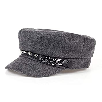 fe3d641722b Image Unavailable. Image not available for. Color  Daisy Storee New Military  Hat Winter Knitted Cap Flat Top Hats for Women Rivet Black Grey