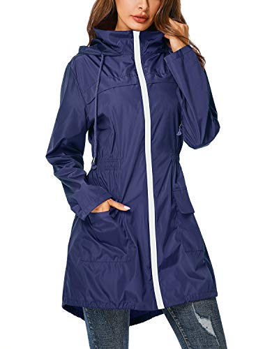 ZEGOLO Rain Jacket Women Hooded Lightweight Raincoat Outdoor Waterproof Windbreaker Navy Blue 2X-Large