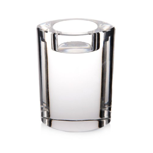 CRISTALICA Candleholder, tealight holders, Candlestick, Collection STARLIGHT, 10 cm, oval, transparent (GERMAN CRYSTAL powered by