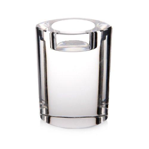 CRISTALICA Candleholder, tealight holders, Candlestick, Collection STARLIGHT, 10 cm, oval, transparent (GERMAN CRYSTAL powered - Candlestick Starlight