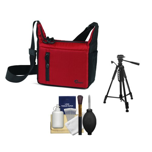 Lowepro Streamline 100 Photo/Video ILC Digital Camera Case (Red/Black) with Tripod Kit for Sony Alpha, Olympus OM-D/Pen, Nikon 1, Panasonic G Series