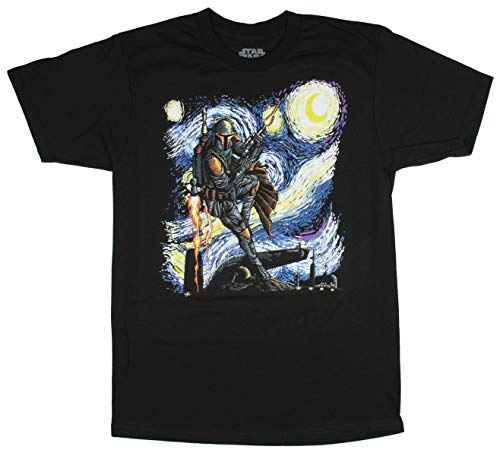 Star Wars Boba Fett Starry Night Men's Adult Graphic Tee T-Shirt (Black, Small) by Mad Engine