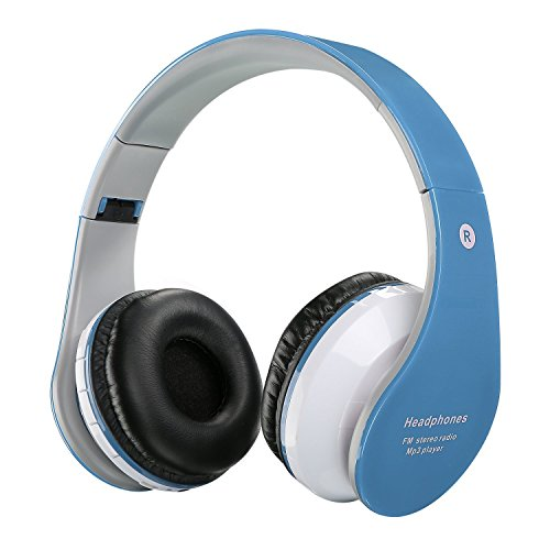 Image of the Bluetooth Wireless/ Wired Headphones Foldable Ajustable Lightweight Headset with Mic,Stereo Sound,Noise Reduction Cancelling, For Phones Computer For Kid/Boy/Girl/Teen/Family-Blue