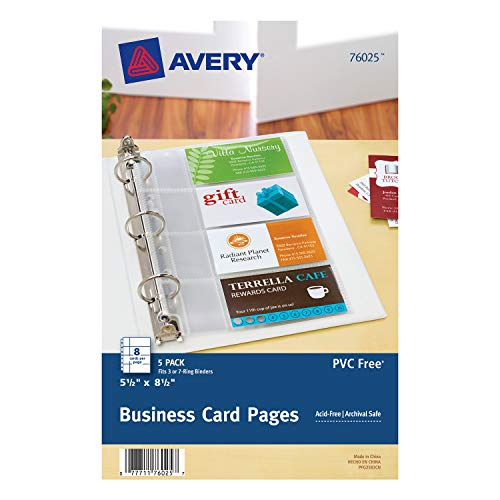 (Avery Mini Business Card Pages, Clear, 5.5 x 8.5 inches, Pack of 5 (76025))