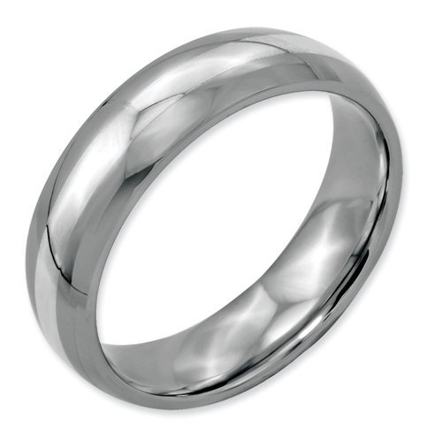 Bridal Stainless Steel Sterling Silver Inlay 6mm Polished Band