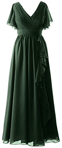 Evening Gown Dunkelgrun Dress Bride Sleeves Mother V Formal Short MACloth Women Neck the of Rw7qP7TxO