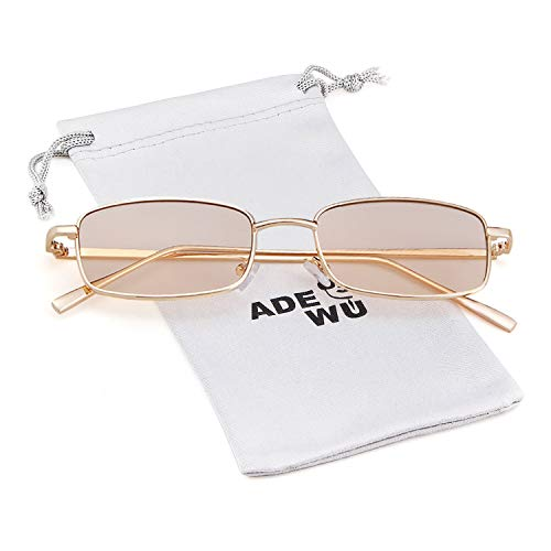 Retro for Glasses Fashion Champagne Women Gold Sunglasses Lens Square Men ADEWU Frame wqFXtHM