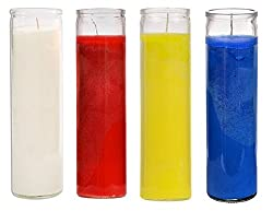 Sanctuary Series Assorted Religious Candle, White Blue Yellow and Red, Case of 12