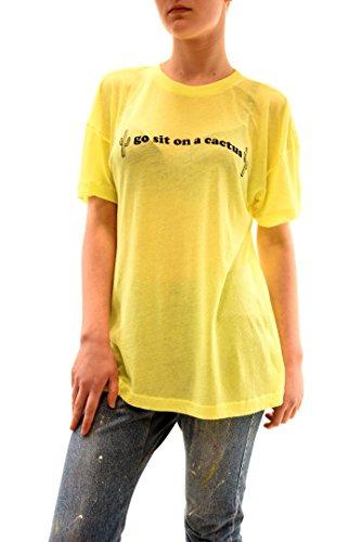 Wildfox Mujer Go Sit On Cactus Neon Sign Top Tee Amarillo del signo de neón