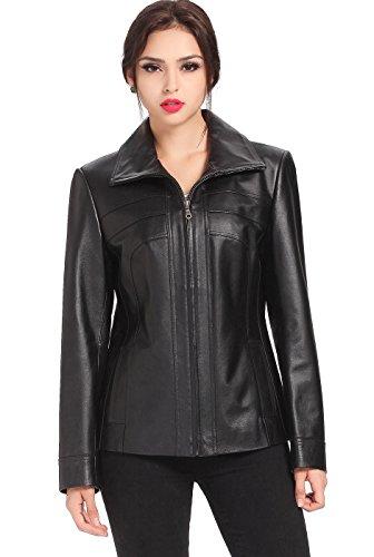 (BGSD Women's Kim Bow Seam Leather Scuba Jacket - L Black)