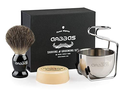 Shaving Brush Set,4in1 Anbbas Best Badger Bristles Shaving Brush Black Wood Handle and Goat Milk Soap 100g,Stainless Steel Shaving Stand and Soap Cup Kit Perfect for Men ()