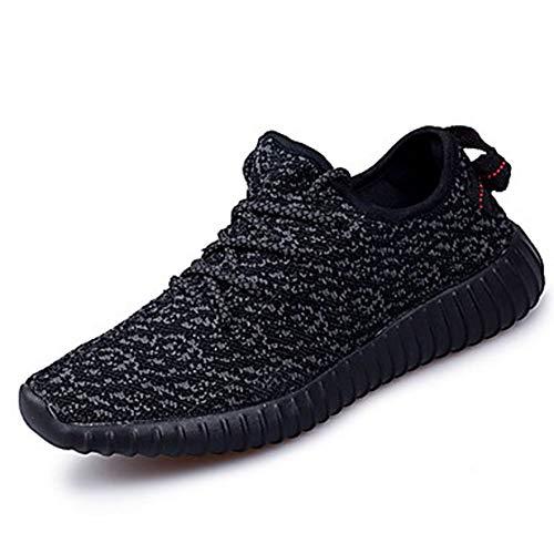 5 UK5 Scarpe Estate A Per Grigio Black Sneakers Corsa Punta Piatto TTSHOES EU37 CN37 Tulle Autunno Cachi US7 Nero Comoda Maglia Tonda Donna wfgcq1