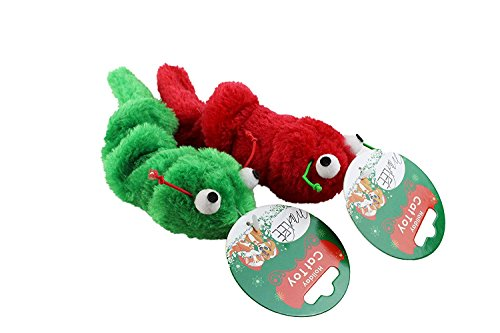 Midlee Vibrating Christmas Caterpillar Cat Toy- 2 Pack