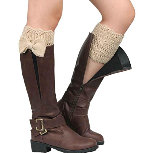[Oksale Women Winter Bowknot Crochet Knitted Wool Boot Socks Cover Leg Warmers (Beige)] (1980s Dress)