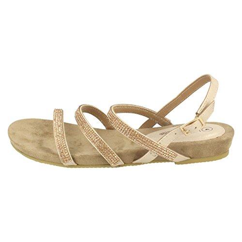 Leather Collection Ladies Diamante Slingback Sandals Rose Gold (Gold) fTvydgaIyo