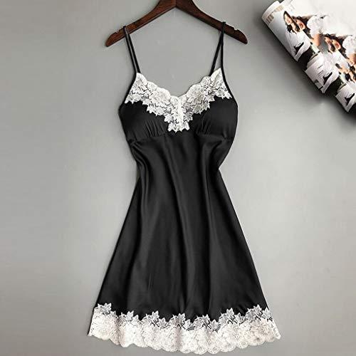Women Lingerie V Neck Nightwear Satin Sleepwear Lace Trim Chemise Mini Teddy Babydoll Chemise Black by baskuwish (Image #1)
