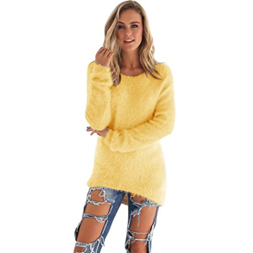 Perman Womens Casual Tops Pullover Long Sleeve Jumper Sweaters Blouse (L, Yellow)