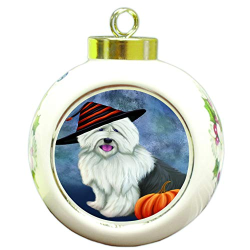 Doggie of the Day Happy Halloween Old English Sheepdog Wearing Witch Hat with Pumpkin Round Ball Christmas Ornament RBPOR55034