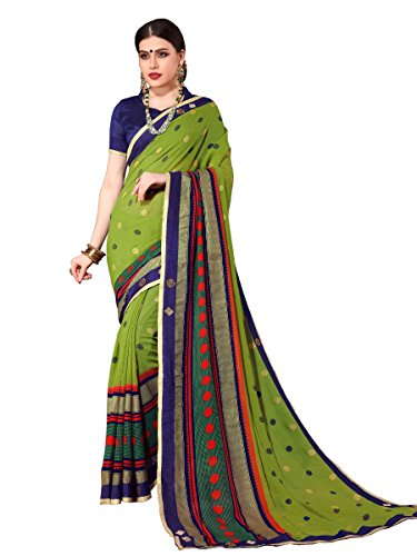 ELINA FASHION Saree For Women Olive Green Royal Chiffon Foil Print Embroidery (Embroidery Sari Saree)