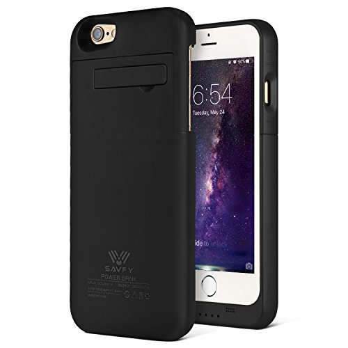 SAVFY 4800mAh Portable Battery Bank with Kick Stand for 5.5' iPhone 6 Plus /6S Plus, Slim Fit Slider Design + Full Body Protection (Please use your original lightening for charging) (Black)
