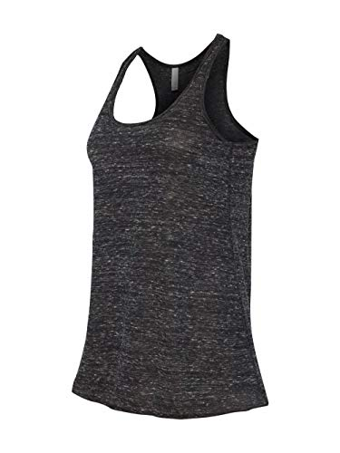 (Bella + Canvas Womens 3.7 oz. Flowy Racerback Tank (B8800) -BLACK MARBLE -L)