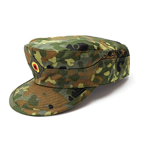 Genuine Brand German Army Cap Fleckt-tarn Woodland Camouflage Field Original Military Issue hat (XLarge) (Bundeswehr Hat)