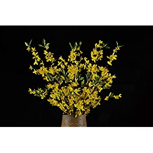 "Rinlong Artificial Yellow Jasmine Flower Branches 51.8"" Winter Jasmine Blossoms Sprays Fake Flowering Stems for Party Decoration Home Floral Décor 40"