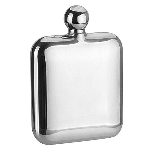Savage 6oz Hip Flask Round Lid 18/8 Stainless Steel Mirror Finished by Savage