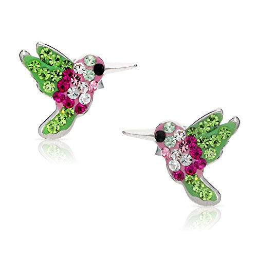 ColorfulMiracle of Living Hummingbird Crystal Earrings, Never Rust 925 Sterling Silver Natural & Hypoallergenic Studs For Women & Girls with Free Breathtaking Gift Box for a Special Moment of Love
