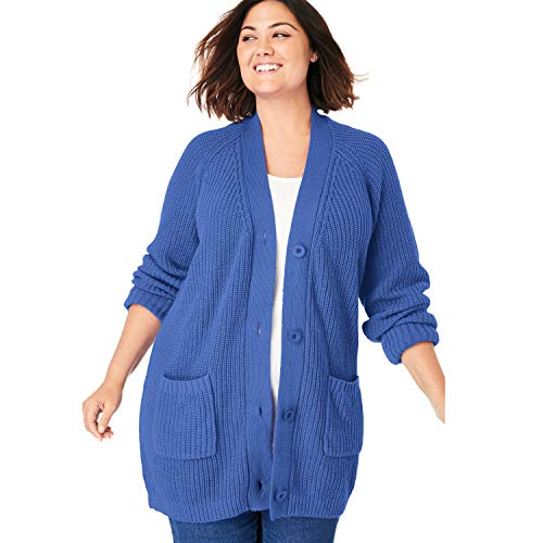 Tulip Knit - Woman Within Women's Plus Size Button Front Shaker Cardigan - Tulip Purple, 22/24