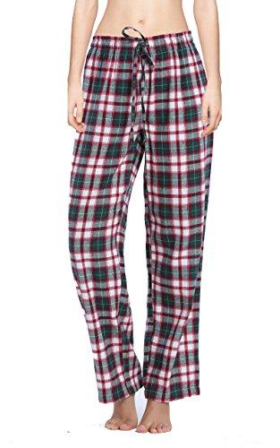 CYZ Women's 100% Cotton Super Soft Flannel Plaid Pajama/Louge Pants-F1604-L