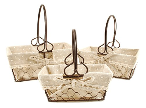 Polka Dot Burlap and Chicken Wire Nesting Baskets 9 x 9 inch Storage Decoration Set of 3]()