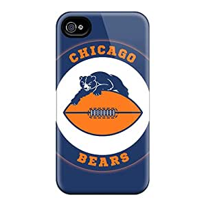 Bumper Hard Phone Covers For Iphone 4/4s With Customized Vivid Chicago Bears Pictures JasonPelletier