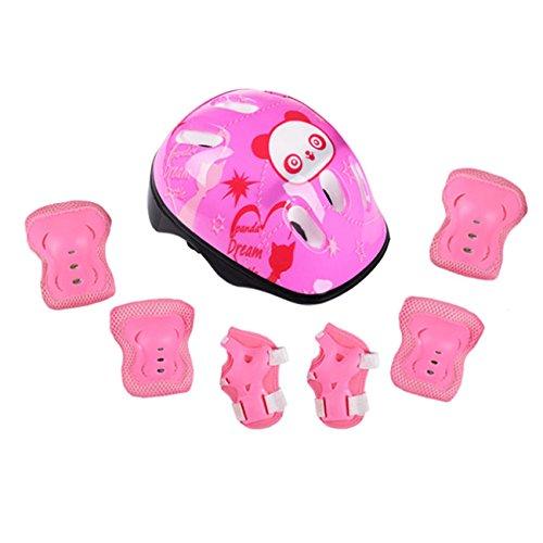 RAINSTAR 7pcs Panda Kids Bicycle Helmet Elbow Wrist Knee Pads Sport Cyling Bike Helmet for Children Skateboard Mtb Riding Pink For Sale