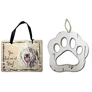 Old English Sheepdog Sign and Wood Paw Ornaments for Dog Lovers Bundle (2 Pieces) 1