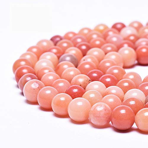 Asingeloo Natural Peach Rose Pink Jade Stone Beads for Jewelry Making Round Loose Spacer Beads 8mm Healing Power Crystal Gemstones 15