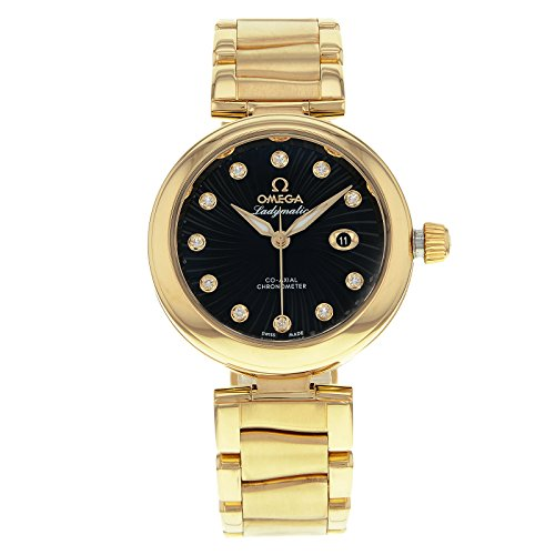 Omega-DeVille-Ladymatic-Black-Diamond-Dial-18kt-Yellow-Gold-Ladies-Watch-42560342051002