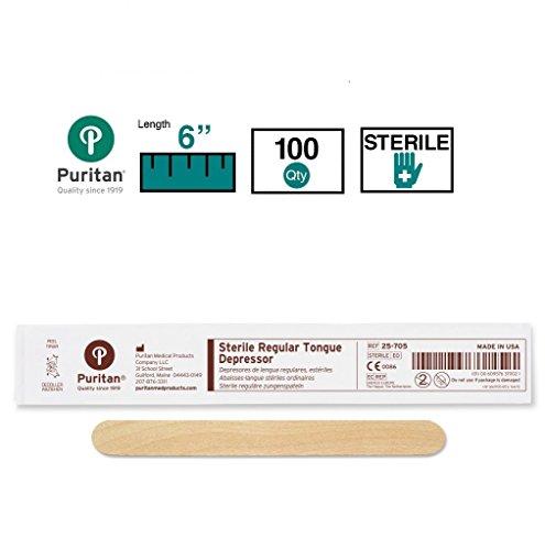 """Puritan Medical P25705 6"""" Sterile Standard Wood Tongue Depressor - 25-705 - Box of 100, Wood"""