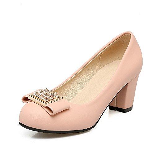 VogueZone009 Damen Mittler Absatz Rein Ziehen auf Lackleder Rund Zehe Pumps Schuhe, Pink, 42