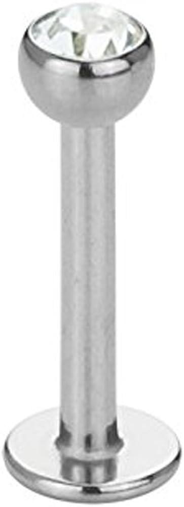 Acero–Labret–Cristal (Piercing varilla para etc. de labios, nariz, conchpier cings Plata)
